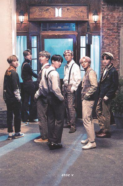 Tags: K-Pop, BTS, J-Hope, Suga, Jungkook, Jin, V (Kim Taehyung), Rap Monster, Park Jimin, Vest, Back, Gray Pants