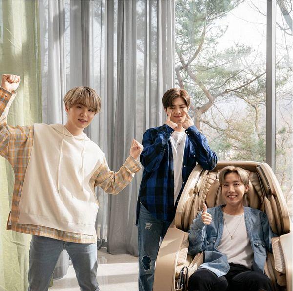 Tags: K-Pop, BTS, J-Hope, Suga, Rap Monster, Chair, Checkered, Grin, Window, Curtain, Sitting On Chair, Blue Shirt