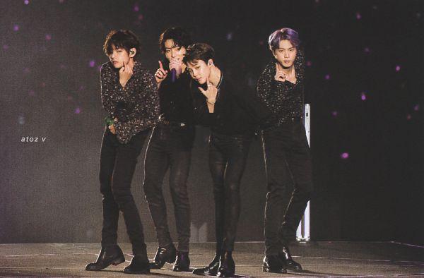 Tags: K-Pop, BTS, Jin, Jungkook, V (Kim Taehyung), Park Jimin, Purple Hair, Black Footwear, Ring, Finger To Cheek, Holding Object, Four Males