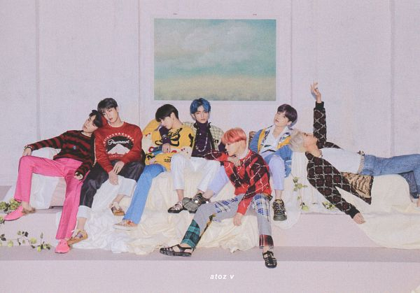 Tags: K-Pop, BTS, J-Hope, Suga, Jungkook, Jin, V (Kim Taehyung), Rap Monster, Park Jimin, Side View, Indoors, White Pants