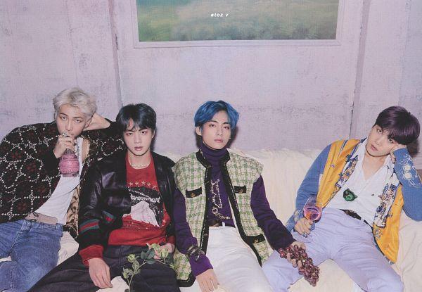 Tags: K-Pop, BTS, Jin, Rap Monster, V (Kim Taehyung), Suga, White Hair, Cardigan, Vest, Hand On Head, Bracelet, Purple Outerwear