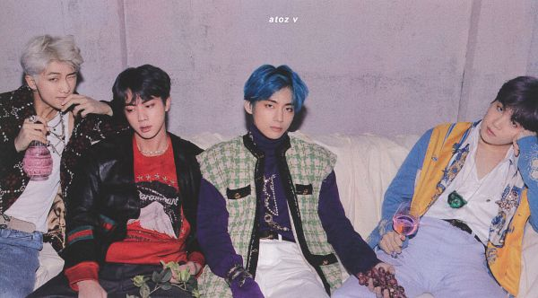 Tags: K-Pop, BTS, Jin, Rap Monster, V (Kim Taehyung), Suga, Sitting On Couch, Turtleneck, Wink, Cardigan, Collar (Clothes), Sweater