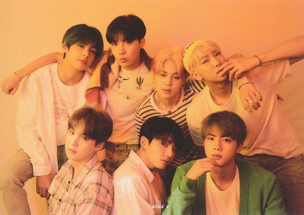 Tags: K-Pop, BTS, Jungkook, Jin, V (Kim Taehyung), Rap Monster, Park Jimin, J-Hope, Suga, Arm Around Shoulder, Ring, Cardigan