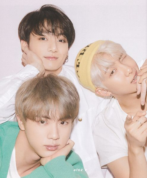 Tags: K-Pop, BTS, Jungkook, Jin, Rap Monster, Trio, Collar (Clothes), Yellow Headwear, Close Up, White Hair, Short Sleeves, White Outerwear