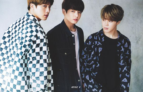 Tags: K-Pop, BTS, Jungkook, Park Jimin, Jin, Checkered, Three Males, Trio, Checkered Shirt, Back, Japanese Text, Magazine Scan