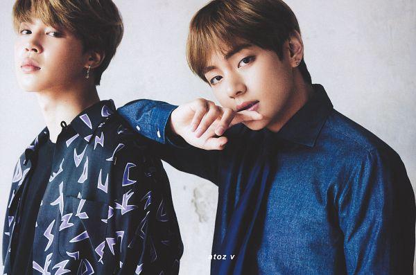 Tags: K-Pop, BTS, V (Kim Taehyung), Park Jimin, Two Males, Blue Shirt, Close Up, Duo, Tie, Magazine Scan, Anan Magazine
