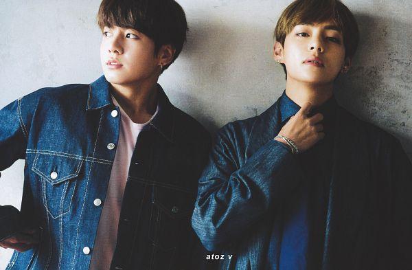 Tags: K-Pop, BTS, V (Kim Taehyung), Jungkook, Denim Jacket, Tie, Duo, Blue Jacket, Two Males, Blue Shirt, Blue Outerwear, Magazine Scan