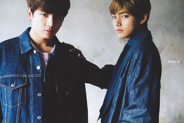 Tags: K-Pop, BTS, Jungkook, V (Kim Taehyung), Tie, Serious, Duo, Blue Jacket, Blue Outerwear, Two Males, Blue Shirt, Denim Jacket