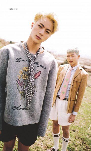 Tags: K-Pop, BTS, Rap Monster, Jin, Gray Outerwear, Black Eyes, White Legwear, Dutch Angle, Shorts, Plaided Print, Head Tilt, Pink Neckwear