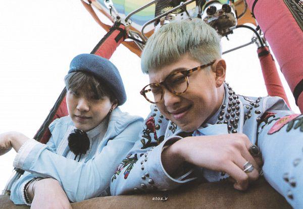 Tags: K-Pop, BTS, Rap Monster, Suga, Ribbon, From Below, Hot Air Balloon, Bracelet, Sky, Blue Headwear, Striped Shirt, Striped