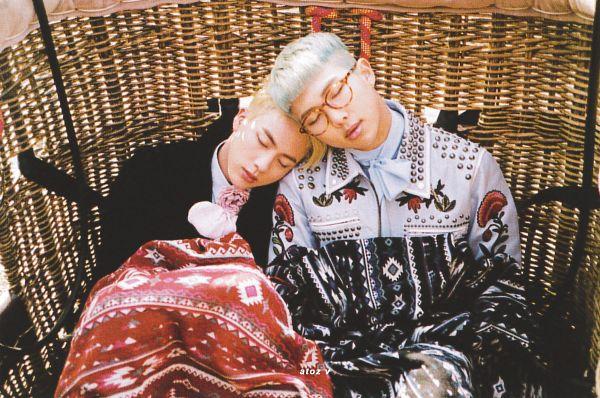Tags: K-Pop, BTS, Jin, Rap Monster, Rose (flower), Floral Jacket, Close Up, Two Males, Outdoors, Pink Flower, Black Outerwear, Head On Shoulder