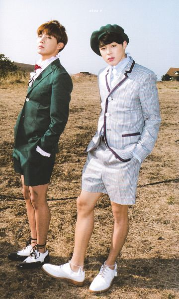 Tags: K-Pop, BTS, Park Jimin, J-Hope, Hand In Pocket, Bare Legs, Frills, Sky, Plaided Print, Day, Shoes, Gray Jacket