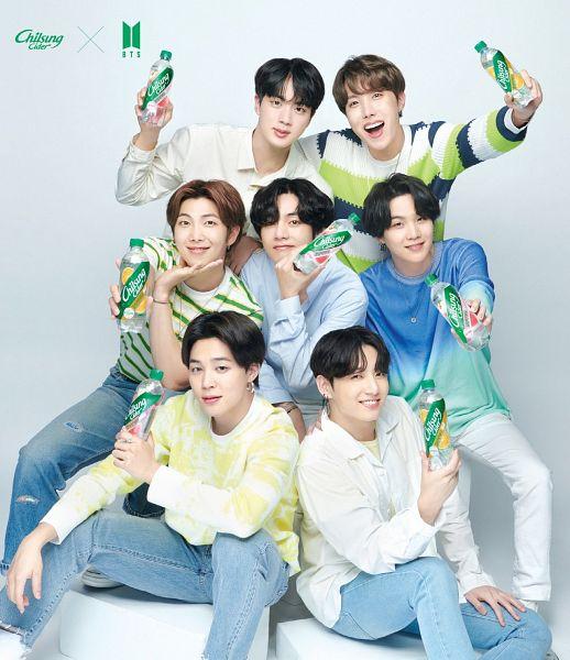 Tags: K-Pop, BTS, Jin, V (Kim Taehyung), Rap Monster, Park Jimin, J-Hope, Suga, Jungkook, Full Group, Holding Object, Hand On Shoulder