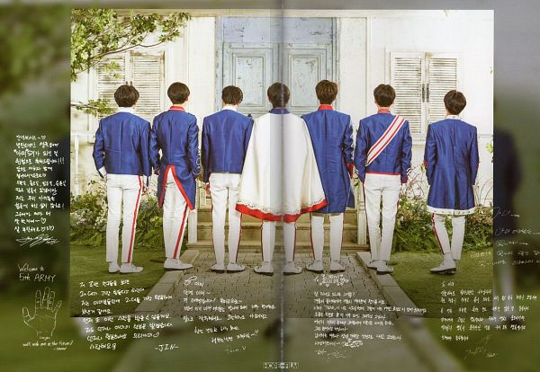 Tags: K-Pop, BTS, J-Hope, Suga, Jungkook, Jin, V (Kim Taehyung), Rap Monster, Park Jimin, Blue Outerwear, Korean Text, Blue Jacket