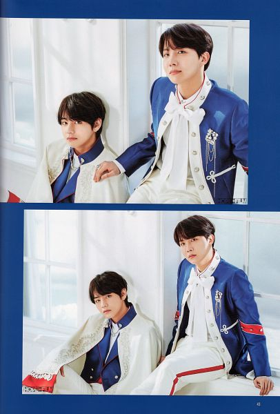 Tags: K-Pop, BTS, V (Kim Taehyung), J-Hope, Blue Jacket, Cape, Two Males, Duo, Blue Outerwear, Ring, Hand On Shoulder, Frame