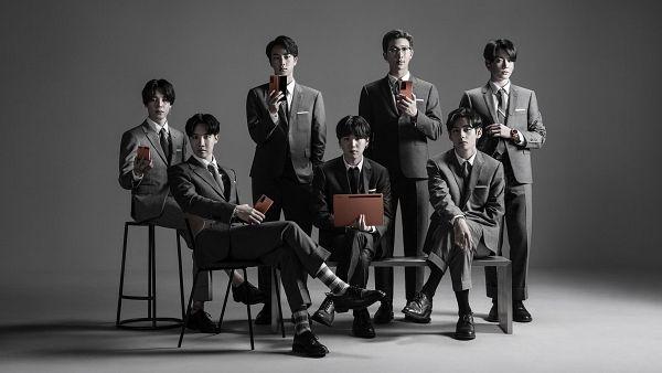 Tags: K-Pop, BTS, Rap Monster, Park Jimin, J-Hope, Suga, Jungkook, Jin, V (Kim Taehyung), Gray Jacket, Tablet, Glasses