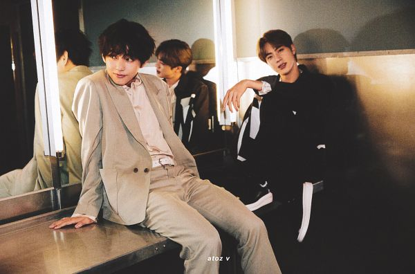 Tags: K-Pop, BTS, V (Kim Taehyung), Jin, Suit, Indoors, Black Jacket, Gray Jacket, Duo, Glass, Grin, Reflection