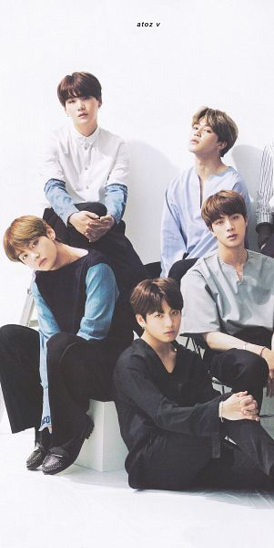 Tags: K-Pop, BTS, Park Jimin, Suga, Jin, Jungkook, V (Kim Taehyung), Black Pants, Sitting On Ground, Crossed Legs, Bracelet, Five Males