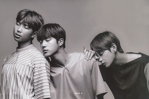 Tags: K-Pop, BTS, Jin, Rap Monster, V (Kim Taehyung), Necklace, Trio, Serious, Holding Close, Eyes Closed, Three Males, Hand On Shoulder
