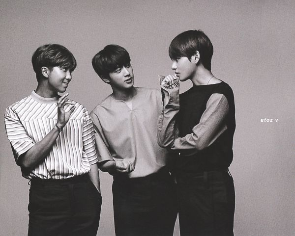 Tags: K-Pop, BTS, V (Kim Taehyung), Jin, Rap Monster, Looking At Another, Trio, Monochrome, Necklace, Three Males, Non-no, Magazine Scan
