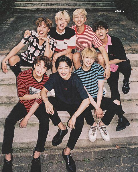 Tags: K-Pop, BTS, Jin, V (Kim Taehyung), Rap Monster, Park Jimin, J-Hope, Suga, Jungkook, Stairs, Bracelet, Short Sleeves