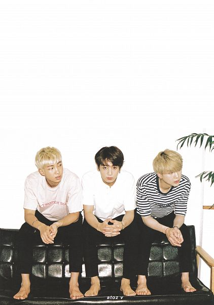 Tags: K-Pop, BTS, Jungkook, Suga, Rap Monster, Bracelet, Pink Shirt, Trio, Three Males, Barefoot, Looking Away, Sitting On Couch