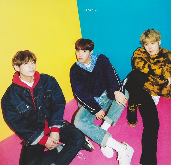 Tags: K-Pop, BTS, Park Jimin, J-Hope, V (Kim Taehyung), Hood, Yellow Outerwear, Blue Shirt, Crossed Legs, Hoodie, Contact Lenses, Multi-colored Background