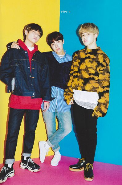 Tags: K-Pop, BTS, Park Jimin, J-Hope, V (Kim Taehyung), Hand In Pocket, Hood, Jeans, Blue Shirt, Striped, Hoodie, Yellow Outerwear