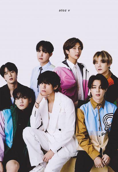 Tags: K-Pop, BTS, Suga, Jungkook, Jin, V (Kim Taehyung), Rap Monster, Park Jimin, J-Hope, Black Eyes, Multi-colored Jacket, Multi-colored Hair