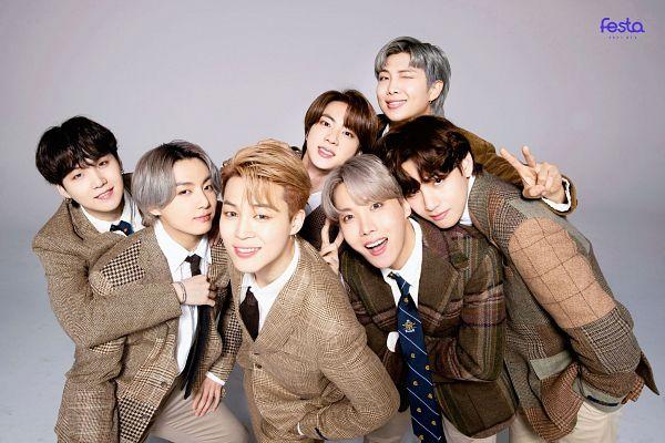 Tags: K-Pop, BTS, Jungkook, Jin, V (Kim Taehyung), Park Jimin, J-Hope, Suga, Gray Hair, Wink, Gray Background, Brown Pants
