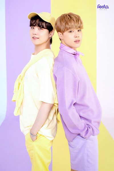 Tags: K-Pop, BTS, Park Jimin, Suga, Hand In Pocket, Two Males, Short Sleeves, Purple Shirt, Grin, Yellow Pants, Shorts, Multi-colored Background