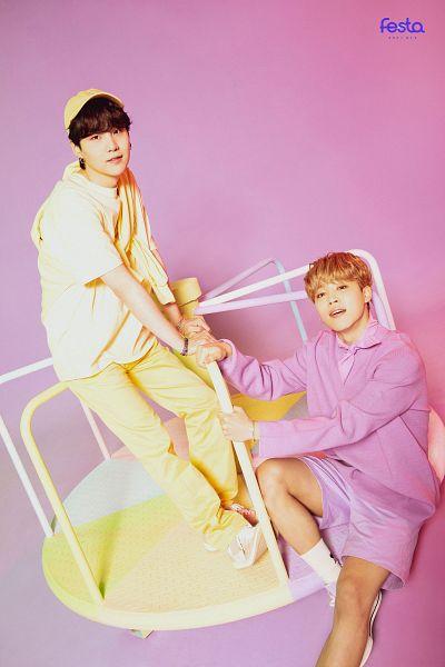 Tags: K-Pop, BTS, Park Jimin, Suga, Yellow Headwear, Hat, Two Males, Short Sleeves, Purple Shirt, Bracelet, Yellow Pants, White Shorts