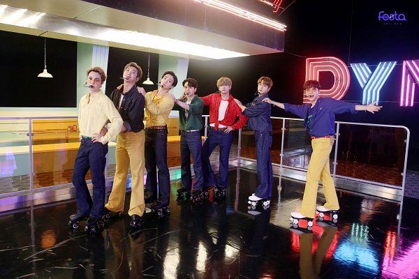Tags: K-Pop, BTS, Dynamite, V (Kim Taehyung), Rap Monster, Park Jimin, J-Hope, Suga, Jungkook, Jin, Roller Skates, Green Shirt