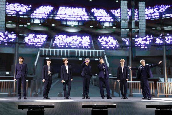 Tags: K-Pop, BTS, Rap Monster, Park Jimin, J-Hope, Suga, Jungkook, Jin, V (Kim Taehyung), Gray Hair, Full Group, Indoors