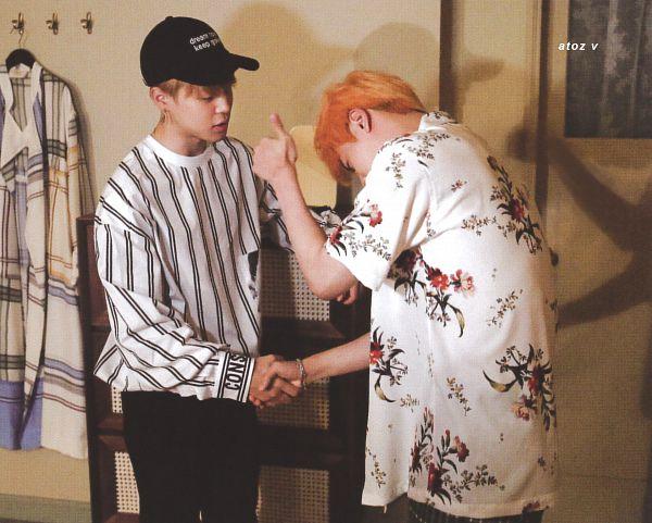Tags: K-Pop, BTS, Epiphany, Park Jimin, Jin, Looking Down, Indoors, Black Pants, Striped, Floral Shirt, Bracelet, Thumbs Up
