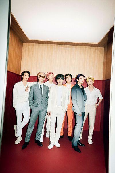 Tags: K-Pop, BTS, Butter, Suga, Jungkook, Jin, V (Kim Taehyung), Rap Monster, Park Jimin, J-Hope, Black Footwear, Gray Pants