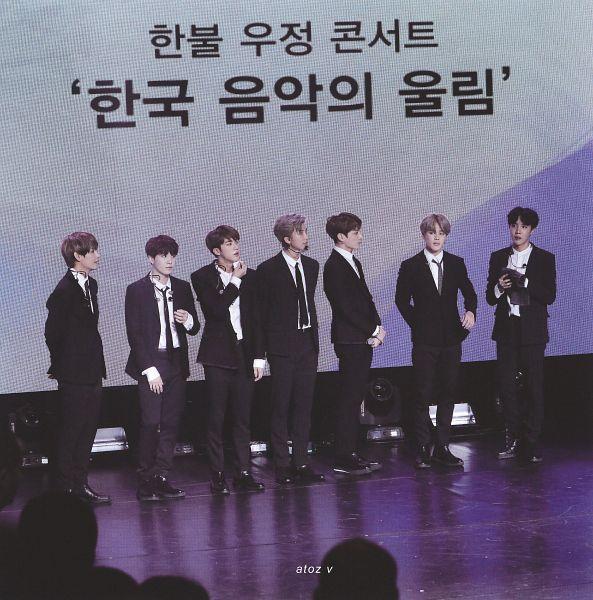 Tags: K-Pop, BTS, Rap Monster, Park Jimin, J-Hope, Suga, Jungkook, Jin, V (Kim Taehyung), Tie, Black Neckwear, Earbuds