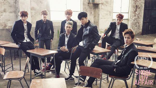 Tags: K-Pop, BTS, Suga, Jungkook, Jin, V (Kim Taehyung), Rap Monster, Park Jimin, J-Hope, School Uniform, Rose (flower), Full Group