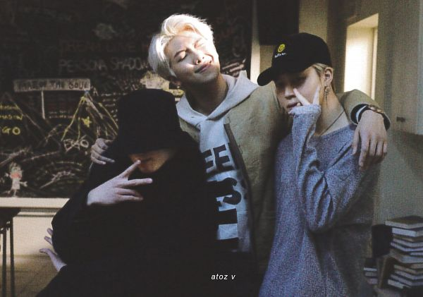 Tags: K-Pop, BTS, Intro: Persona, Jungkook, Park Jimin, Rap Monster, Chalkboard, V Gesture, Three Males, Black Headwear, Crossed Arms, Arm Around Shoulder