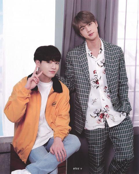 Tags: K-Pop, BTS, Euphoria, Epiphany, Jungkook, Jin, Hand On Leg, Floral Print, Hand In Pocket, Two Males, Green Outerwear, Duo