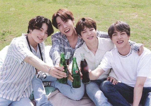Tags: K-Pop, BTS, Jin, Jungkook, Park Jimin, J-Hope, Grass, Striped Shirt, Striped, Bottle, Checkered, Grin