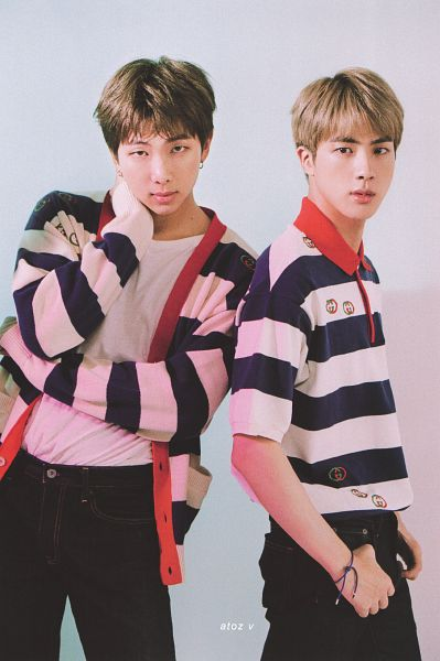 Tags: K-Pop, BTS, Rap Monster, Jin, Serious, Striped Shirt, Duo, Black Pants, Striped, Short Sleeves, Cardigan, Bracelet