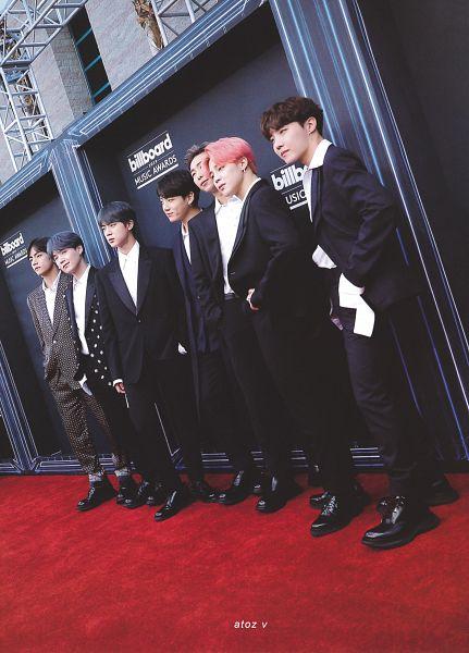 Tags: K-Pop, BTS, Suga, Jungkook, Jin, V (Kim Taehyung), Rap Monster, Park Jimin, J-Hope, Full Group, Red Carpet, Pink Hair