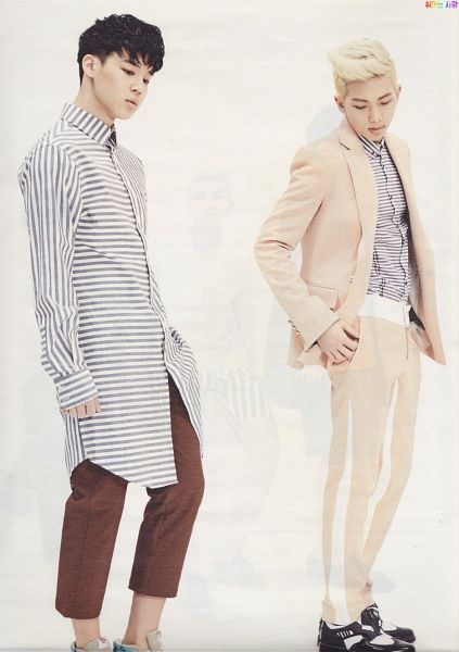 Tags: K-Pop, BTS, Park Jimin, Rap Monster, Looking Down, Shoes, Duo, Suit, Two Males, Hand In Pocket, Magazine Scan, CeCi