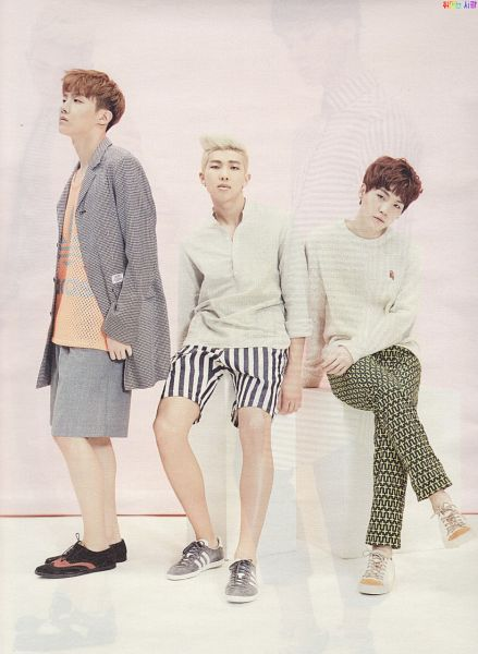 Tags: K-Pop, BTS, Rap Monster, J-Hope, Suga, Looking Away, Shoes, Crossed Legs, Shorts, Three Males, Sneakers, CeCi