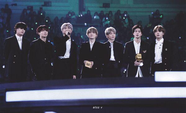 Tags: K-Pop, BTS, J-Hope, Suga, Jungkook, Jin, V (Kim Taehyung), Rap Monster, Park Jimin, Full Group, Black Pants, Trophy