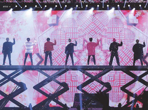 Tags: K-Pop, BTS, Boy With Luv, Suga, Jungkook, Jin, V (Kim Taehyung), Rap Monster, Park Jimin, J-Hope, Back, Red Outerwear