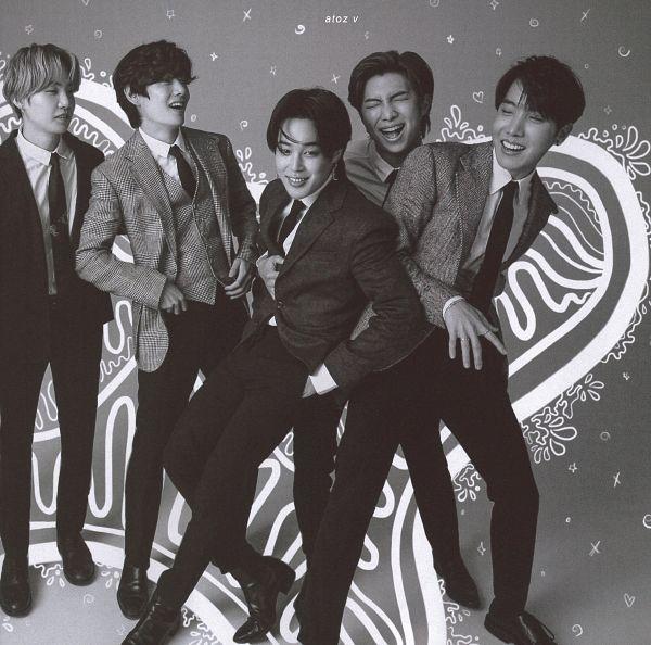 Tags: K-Pop, BTS, Park Jimin, J-Hope, Suga, Rap Monster, V (Kim Taehyung), Tie, Ring, Shoes, Five Males, Monochrome