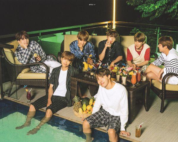 Tags: K-Pop, BTS, J-Hope, Suga, Jungkook, Jin, V (Kim Taehyung), Rap Monster, Park Jimin, Night, Full Group, Tree