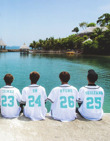 Tags: K-Pop, BTS, Suga, Jin, Rap Monster, Park Jimin, Outdoors, Water, Palm Tree, Quartet, Back, Brown Headwear